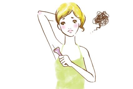 カミソリでムダ毛を剃るのに難色を示す女性