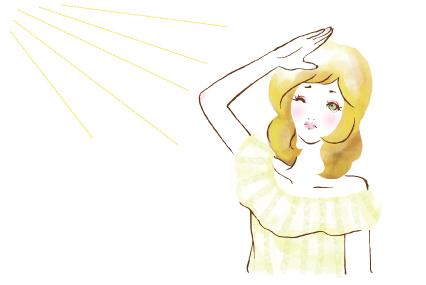 日光が眩しい女性