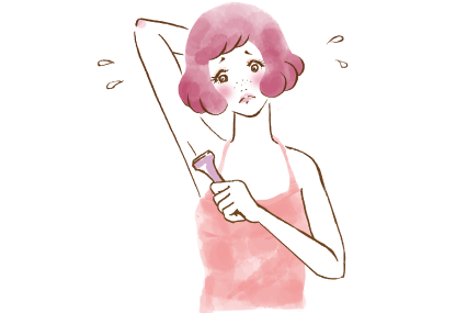 ワキのムダ毛をカミソリで剃る女の子