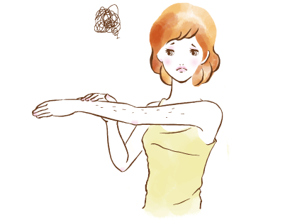 腕に毛が生えている女性