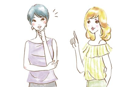 おしゃべりをする青い髪の女性と黄色の髪の女性