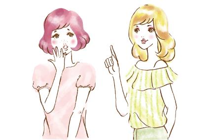 黄色い髪の女の子がピンクの髪の女の子にアドバイスしている