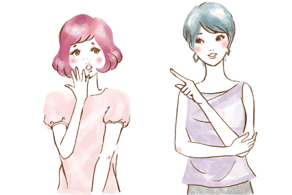 ピンクの髪の女の子に脱毛について教えるショートカットの女性