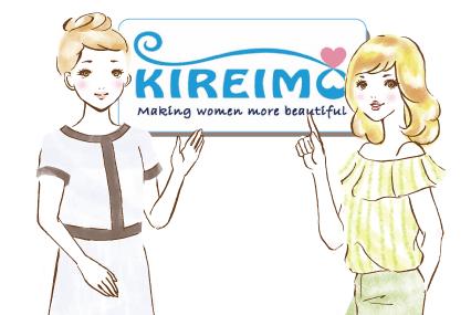 キレイモのロゴを指差す女の子とキレイモのスタッフ