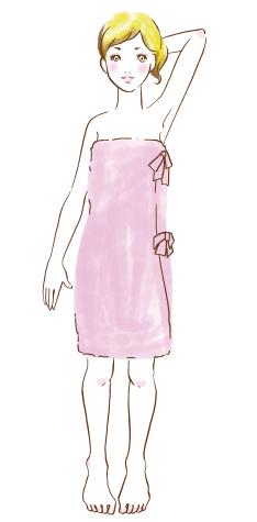 ラップタオルを巻いた女性