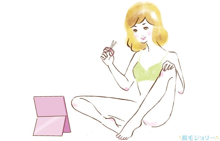 Iラインの形を整える女性